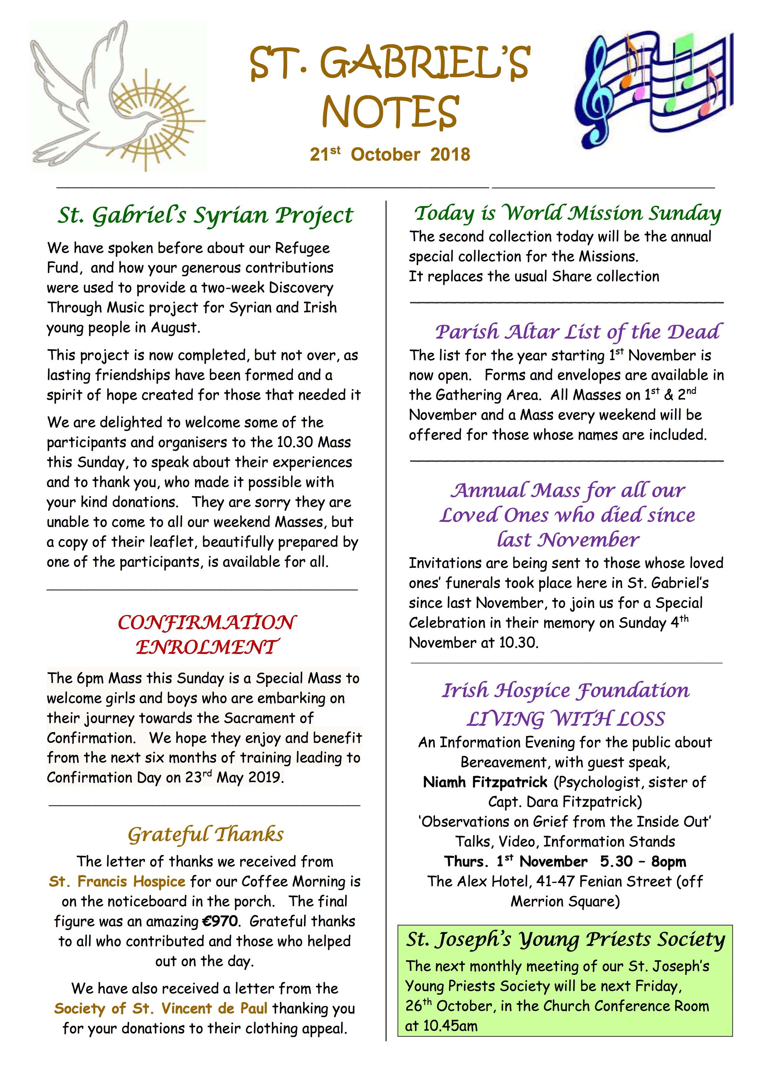Parish Notes 21st October